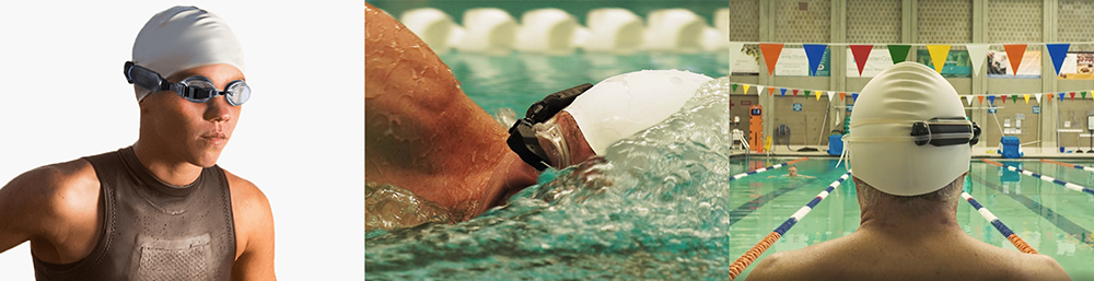 Gallaery of 3 images of swimmers with goggles on
