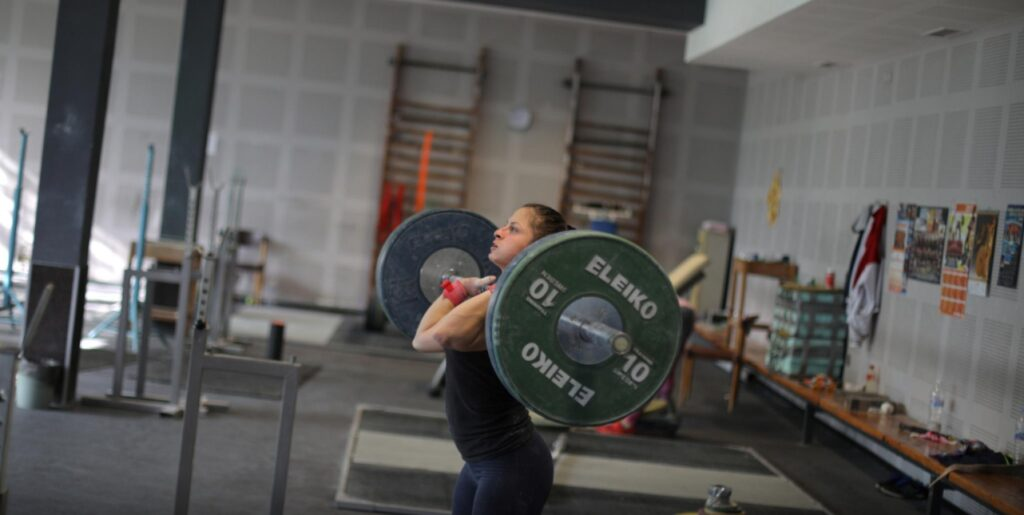 An athlete of Bulgaria's national weightlifting team